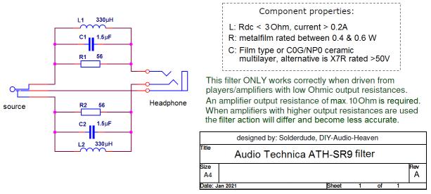 ATH-SR9 filter schematic