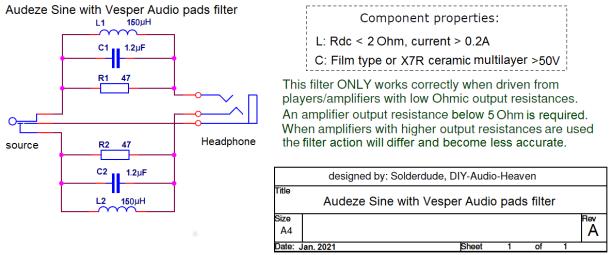 Audeze Sine filter schematic
